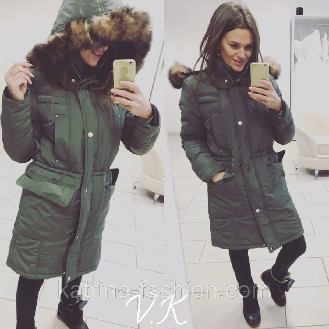 15012a72163 Женская стильная зимняя куртка-парка удлиненная - KATRINA FASHION - оптовый  интернет-магазин женской