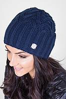 Очень теплая и толстая вязаная шапка в синем цвете