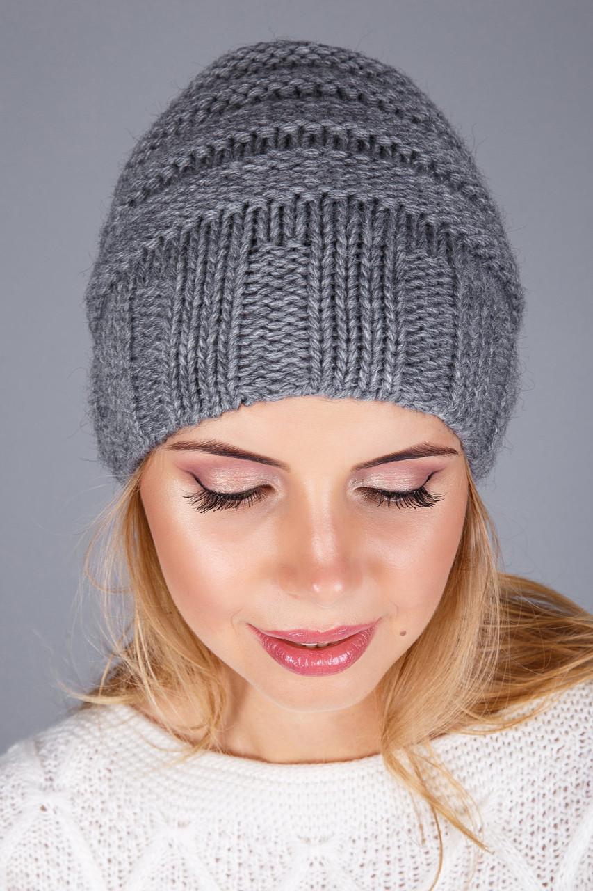 красивая вязаная шапка на зиму в сером цвете цена 300 грн купить