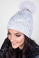 Качественная теплая шапка плотной вязки с помпоном  из натурального меха