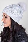 Качественная теплая шапка плотной вязки с помпоном  из натурального меха, фото 3