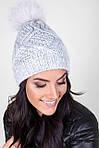 Качественная теплая шапка плотной вязки с помпоном  из натурального меха, фото 4