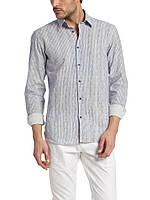 Мужская рубашка LC Waikiki светло-серого цвета в синюю полоску