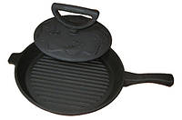 Комплект сковорода с крышкой грузом (цыпленок табака) с чугунной ручкой