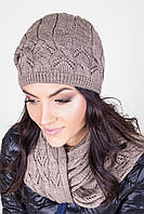 Вязаный набор шапка с шарфом спереди ажурный узор