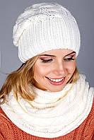 Очень теплый вязаный комплект шапочка с шарфом петлей
