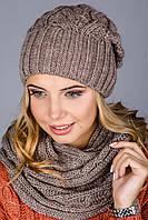 Красивый вязаный комплект шапка с шарфом-хомутом