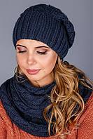 Милый вязаный набор шапка и шарф-петля в синем цвете