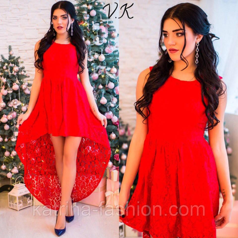 a5a6346129c Женское стильное гипюровое платье с асимметричным низом (5 цветов ...