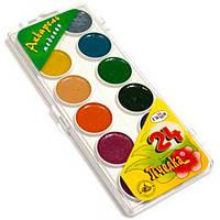 Краски акварельные Пчелка, 24 цвета в пластиковой упаковке, прозрачная крышка