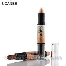 Корректор/консилер хайлайтер-бронзер Creamy 2 in1 Contour Stick Highlighter Bronzer Concealer Ucanbe #B, фото 3