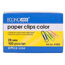 Скрепка цветная круглая 28 мм, 100шт.