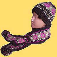 Шапка и шарф коричневые, с орнаментом, детский набор для девочки