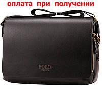 Сумка мужская кожаная фирменная Polo (формат A4, А4)