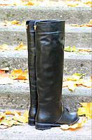 """Сапоги черные кожаные """"WindRose"""" 1556"""