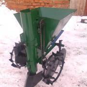 Картофелесажалка  для мотоблока с бункером для мин.удобрений Зеленая