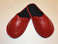 Тапочки кожаные женские красные 38-39