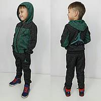 Теплый детский спортивный костюм Джордан с начесом, зеленый
