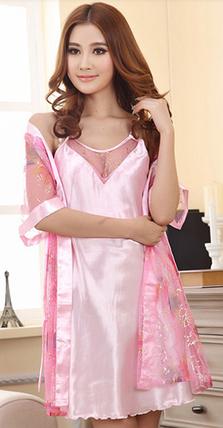 Комплект пеньюар и халатик в розовом цвете, фото 2