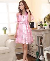 Комплект пеньюар и халатик в розовом цвете, фото 3