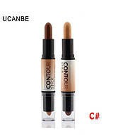 Корректор/консилер хайлайтер-бронзер Creamy 2 in1 Contour Stick Highlighter Bronzer Concealer Ucanbe #C