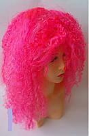 Парик  волнистый химия  розовый 50 см, фото 1