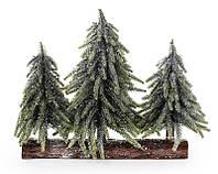 Елки декоративные заснеженные на подставке из дерева
