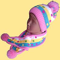 Шапка и шарф, детский набор для девочки, в полоску и горошек