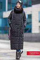 Зимний чёрный плащ с трикотажным воротником