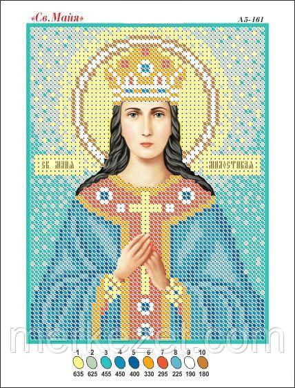 Святая Майя. Икона для вышивки бисером. Ткань с рисунком, заготовка для вышивки