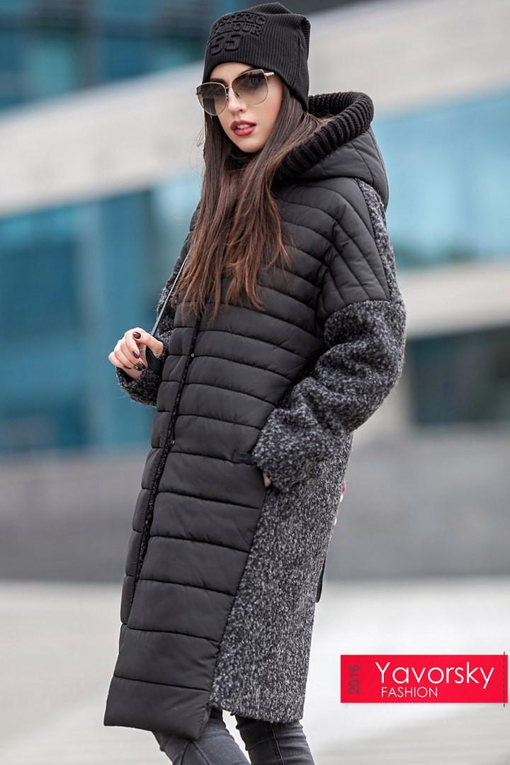 488034768c5e Зимнее комбинированное стеганое пальто