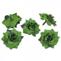 Цветы Розы Зеленые из ткани бархатные 5 см 1 шт