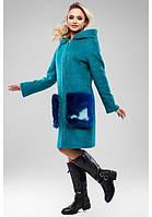 Красивое пальто женское с меховыми карманами в 5nb цветах 048