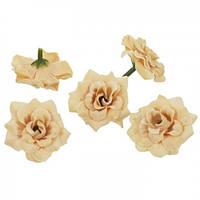 Цветы Розы Кремовые из ткани бархатные 5 см 1 шт