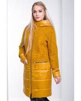 Красивое пальто женское комбинированное разные цвета М-043