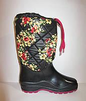 Сапоги резиновые женские утепленые с цветами, фото 1