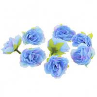 Цветы Розы Голубые из ткани 4 см 1 шт