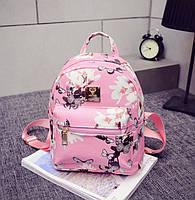 Рюкзак розовый в цветы