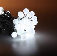 Гирлянда нить шарики 5м белые LED