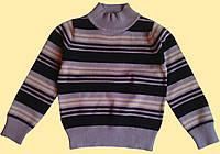 Свитер детский вязанный, в полоску, коричневый