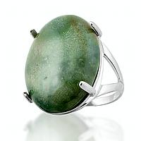 Яшма зеленая, серебро 925, кольцо, 108КЯ