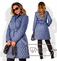 Пальто женское стёганое голубое ДВ/-033