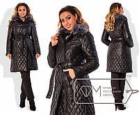 Пальто женское стёганое чёрное ДВ/-033