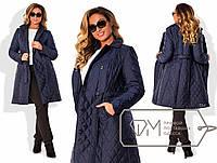 Пальто женское стёганое синие ДВ/-033