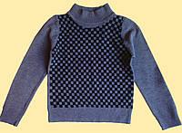 Свитер детский вязанный, серый, в клеточку
