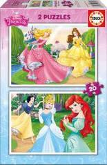 Пазлы Диснеевские принцессы, 2 пазла по 20 элементов Educa  16846