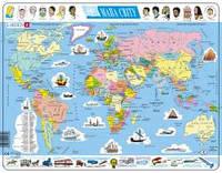 Пазл рамка-вкладыш Larsen Политическая карта мира (на украинском языке), серия МАКСИ K1-UA