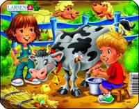 Пазл рамка-вкладыш Larsen Ферма. Дети и корова, серия МИНИ Z11-3