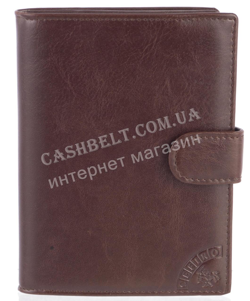 Стильная надежная кожаная обложка-документница высокого качества CEFIRO art.CE557-305G-3 коричневый