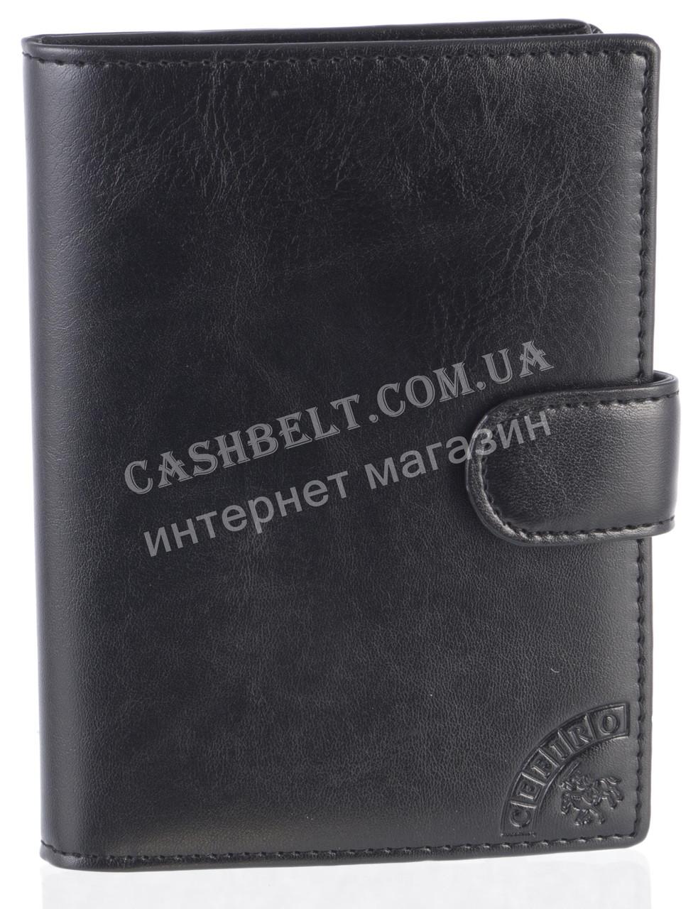 Стильная надежная кожаная обложка-документница высокого качества CEFIRO art.CE557-305G-1 черный